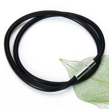 "3mm Black Rubber Cord Necklace Bracelet Craft Silver Bayonet Clasp 12""- 24''"