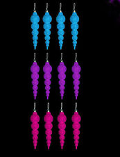 12 x 16cm Glitter Icicles Christmas Tree Decorations Pink Purple or Turquoise