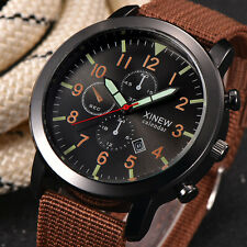 Stainless steel Men Military Quartz Army Watch Black Dial Date Sport Wrist Watch