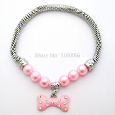 Pet dog pearls necklace collar bone charm pendant Puppy jewelry 3 colors 3 sizes