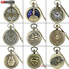 Vintage Bronze Pocket Watch Antique Quartz Pendant Necklace Chain Classic Gift