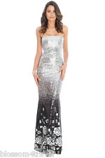 Goddiva Long Silver Sequin Strapless Floral Maxi Evening Party Dress Prom Ball