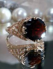 2.6ct Natural Red Garnet Solid 14k Rose Gold Deco Bow Filigree Ring Size Any/MTO