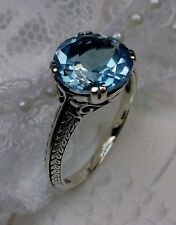 Art Deco Natural Blue Topaz Sterling Silver Filigree Ring Size: {Made To Order}