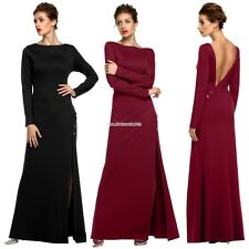 Women Party O-Neck Sexy Side Slit Maxi Solid Backless Dress EN24H