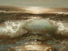 Beautiful Oil Painting Seascape by Claude Terray.  Ocean Waves, birds