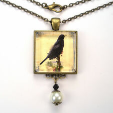 BLACK CROW RAVEN BIRD VINTAGE CHARM BRONZE OR SILVER HALLOWEEN PENDANT NECKLACE
