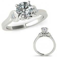 1 Carat G-H Diamond Solitaire Engagement Promise Ring Band Set 14K White Gold