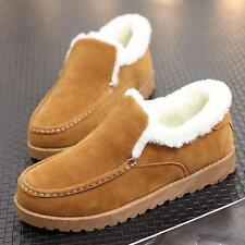 Men's Winter ankle boots Slip On snow Warm fur lined loafer flat Shoes New Size