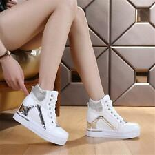 New Womens Wedge Sneakers Lace up Hi Top Fashion Sport Athletic Casual Shoes Hot