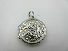 Vintage Sterling Silver Repouse Lady Flowing Hair Flower Heart Locket Pendant