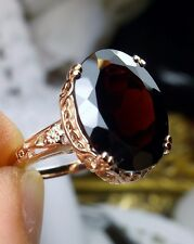 7.6ct Garnet Sterling Silver & Rose Gold Edwardian Filigree Ring Size: Any/MTO