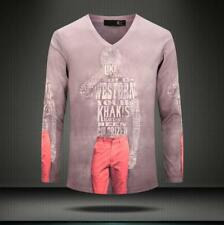 New Men's letter and Man Print Casual Cotton V-Neck Long sleeve Tee T-Shirt 4Sz
