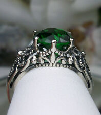 3ct *Emerald* Sterling Silver Victorian Crown Floral Filigree Ring Size Any/MTO