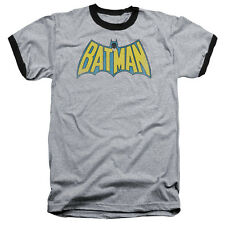 Batman Classic Logo Cartoon DC Comics Superhero Gray Adult Ringer T-Shirt Tee