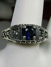 *Sapphire*& CZ Art Deco 1930s Sterling Silver Filigree Ring size {Made To Order}