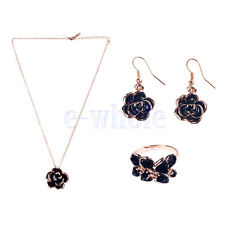 Black rose Pendant Necklace Gold Plated Camellia earrings band ring HM