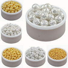 4/6/8/10mm Gold/Silver Plated Hollowed Filigree Round Ball Spacer Beads SHX103