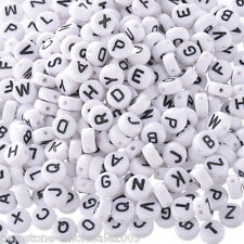 "Wholesale Lots Mixed Acrylic Alphabet Letters ""A-Z"" Round Spacer Beads 7mm Dia."