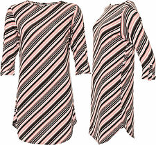 Womens Plus Striped Short Sleeve Curved Hem Long Length T-Shirt Ladies Top 14-28