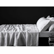 4 Pce 100%  Pure Linen WHITE Sheet Set by Accessorize - QUEEN KING