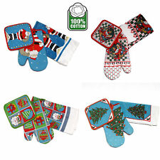 Set of 3 - Christmas Cotton Cover Kitchen Oven Mitten + Pot Holder  + Tea Towel