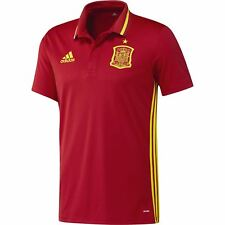 adidas Spain FEF Climalite Polo Shirt Mens Red Football Soccer Top Tee T-Shirt