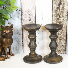 2 x 20cm Candle Stick Holders Mahogany Dark Wooden Pillar Church Shabby Chic