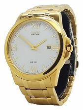 Citizen Eco Drive BM7262-57A Mens Gold Tone Stainless Steel White Date Watch