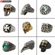 Mens Stainless Steel Gothic Rings Fashion Cool Punk Biker Vintage Jewelry Gift