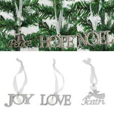 Xmas Tree Theme Letter Hanger Hanging Christmas Ornament Home Decor Craft Silver