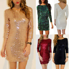 Womens Shiny Sequined 3/4 Sleeve Mini Pencil Dress Night Club Evening Party Gown