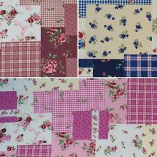 Patchwork Style Mix and Match Floral Tartan Gingham 100% Cotton Fabric
