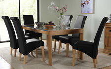 Tate 180cm Oak and Glass Dining Table and 4 6 8 Richmond Chairs Set (Black)