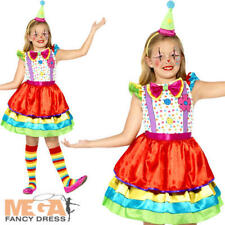 Deluxe Clown Girls Fancy Dress Circus Fun Carnival Childrens Kids Costume Outfit