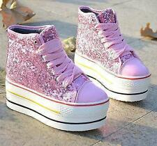 stylish Womens wedge heel Platform Lace up Sneakers sequin Glitter bling shoes