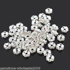 Wholesale Lots Silver Plated Rondelle Spacer Beads 6mm