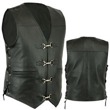 New Mens Motorcycle A Grade Premium Quality Leather Vest with clips size S - 6XL
