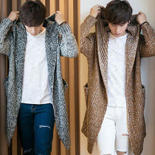 Men's Knitted Cardigan Jacket Coat Sweater Jumper Slim Collar Overwear Winter