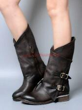 Real leather womens riding mid calf boots punk buckle round toe biker shoes YT @