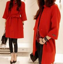 Womens Wool Blend Belt Stand Collar Parka Trench loose Coat sleeve Outwear