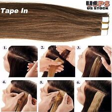 Glue Tape In Seamless Skin Weft Remy Human Hair Extensions 20Pcs 40Pcs US I376