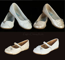 New Toddler Kids Youth Girls Ivory White Dress Shoes Flats Wedding Party Pageant
