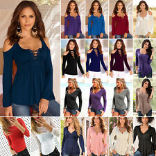 Fashion Womens Long Sleeve Casual Slim Fit Tops T-Shirt Party Blouse Oversized