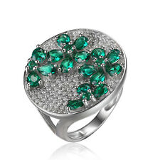 Fashion 2.2ct Created Nano Russian Emerald Ring 925 Sterling Silver Ladies