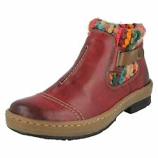 Ladies Rieker Synthetic With Knitted Top Red Boots Z6784-35