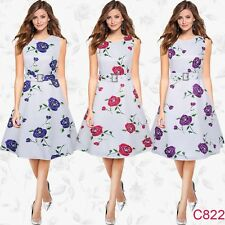 Women Vintage Floral Print 50s Rockabilly Cocktail Party Swing Flared Belt Dress