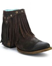 Corral Ladies Fringe Round Toe Leather Cowboy Western Ankle Boots Brown A3135