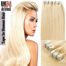 "16""18""20""22"" 20Pcs 40Pcs Tape In Seamless Skin Weft 100% Remy Human Hair US I378"