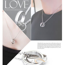 Fashion New His and Hers Stainless Steel Couple Ring Love Chain Pendant Necklace